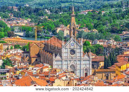 Above View Of Basilica Of Santa Croce (basilica Di Santa Croce Di Firenze) On  Holy Cross Square (pi