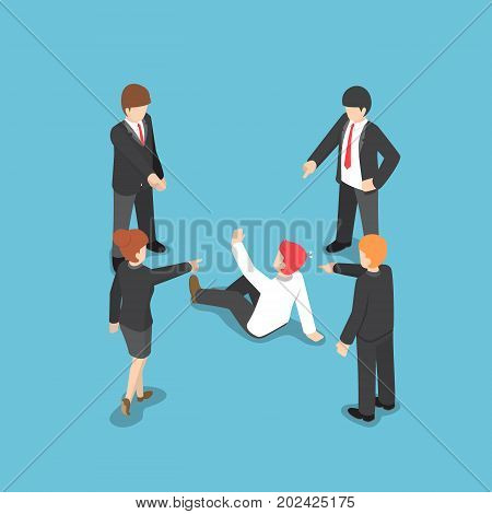Isometric Business People Pointing The Finger To Blaming Businessman.