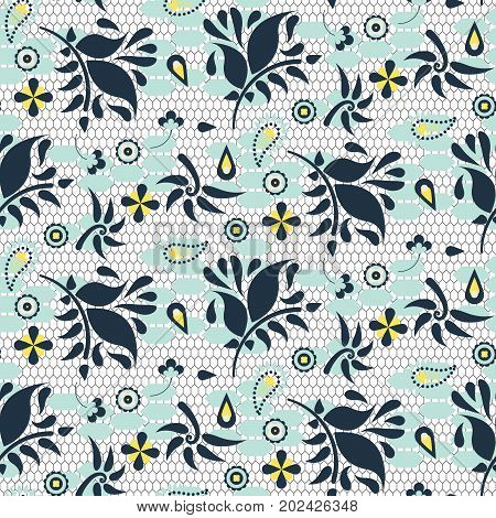 Floral lace blue mesh vector seamless pattern. Flower dots and leaves stylish mesh texture for dress, textile and fabric print.