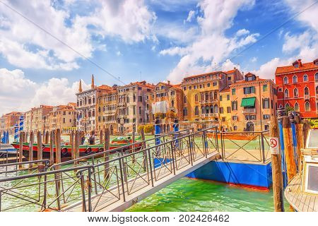 Venice, Italy - May 12, 2017 : Views Of The Most Beautiful Canal Of Venice - Grand Canal Water Stree