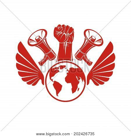 Decorative vector emblem composed with muscular raised clenched fist holding globe liberty wings and megaphones. Politics and authority as the components of propaganda.