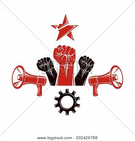 Raised clenched fists vector illustration composed with loudspeakers equipment and engineering cog wheel. Propaganda as the means of manipulation and control poster