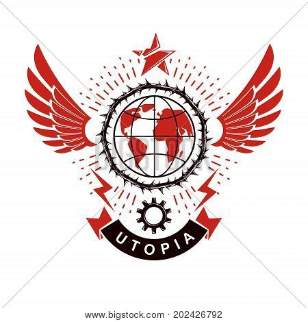 Vector emblem composed using Earth globe surrounded with industrial gear and decorated using pentagonal star. Proletarian social revolution abstract symbol totalitarian utopia.