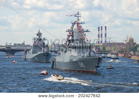ST PETERSBURG, RUSSIA - JULY 30, 2017: Russian warships