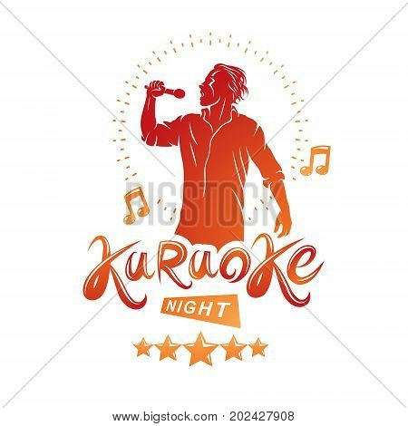 Karaoke night and nightclub discotheque vector invitation poster created with musical notes stars and soloist singing and holding a microphone in hand.