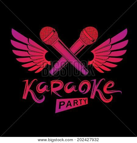 Stage microphone audio equipment created using bird wings live music concert vector invitation emblem. Music and art makes you free karaoke party lettering.