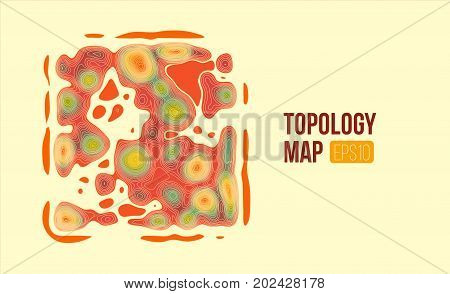 Topography vector map. terrain height slices. Simple infographic and charts