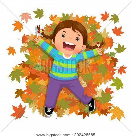 Vector illustration of cute girl playing with falling leaves