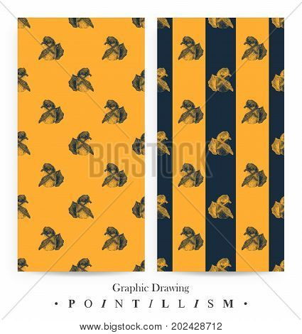 Set of seamless patterns with Hybrid tea roses and dark blue stripes isolated on yellow background. Graphic drawing pointillism technique. Botanical natural collection. Floral illustration drawn by hand
