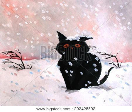 Original oil painting black kitten snow.Winter scene. Modern Impressionism. Children's