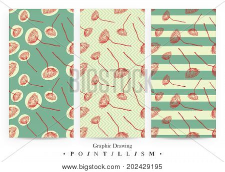 Set of seamless patterns with red Poppy flowers and green stripes on yellow background. Graphic drawing pointillism technique. Botanical natural collection. Floral illustration drawn by hand