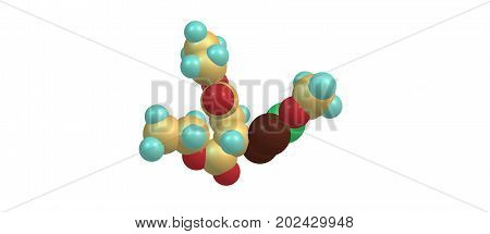 Malathion is an organophosphate insecticide of relatively low human toxicity. It is used in agriculture residential landscaping public recreation areas. 3d illustration