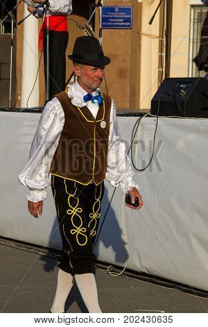 Genichesk, Ukraine - August 26, 2017: Mature man in a traditional Jewish clothing during Festival of National Cultures Tavriyska rodyna (Tavria Family)