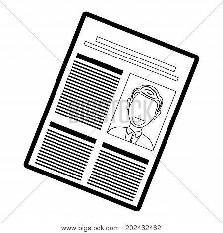 flat line  monocromatic  newspaper over white  background  vector illustration