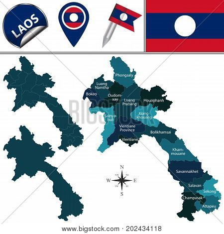 Map Of Laos With Named Provinces