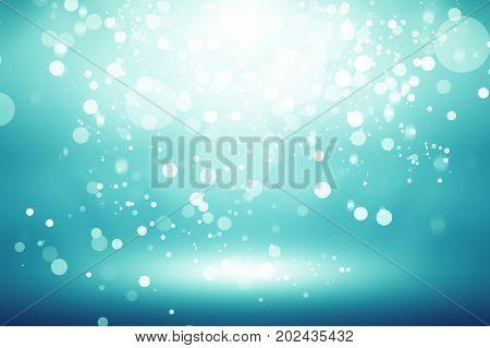 white bokeh blur background / Circle light on green-blue background / abstract light background