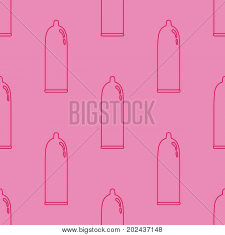 Seamless pattern with the image of condoms.Pink condom classic form.