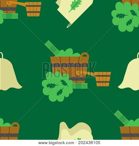 Seamless pattern with the image of accessories for the bath and sauna. flat style