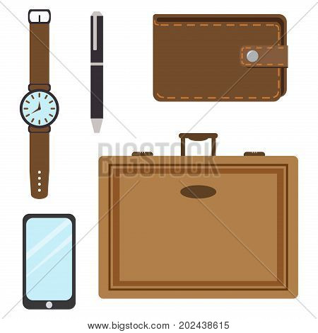 Men's casual outfits accessory grunge business watch hipster style vector illustration. Clothing essentials shoes casual man accessory travel business male elements