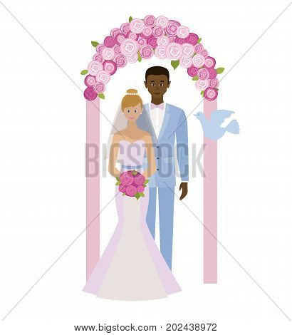 Wedding day. Interracial marriage. Bride and groom standing in wedding arch. Couple in love. Style flat.