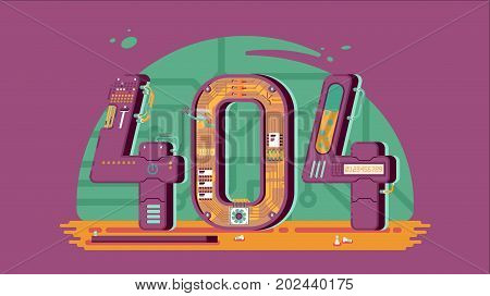 Page not found error 404 vector concept with robots and machinery. Web page error, illustration mechanical mechanism page error