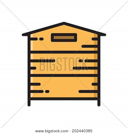 Wooden beehive, bee hive, minimalistic colorful thin line flat style icon, vector illustration isolated on white background. Flat style colorful thin line, outline icon with wooden beehive, bee hive