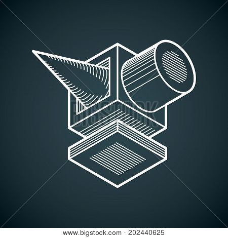 Abstract trigonometric construction vector dimensional design template.