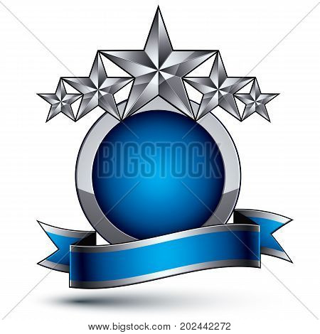 Heraldic vector template with five-pointed silver stars dimensional royal geometric medallion with blue stylish undulate ribbon isolated on white background.