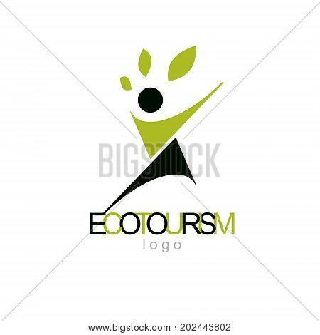 Vector illustration of excited abstract man with raised reaching up. Ecotourism conceptual logo. Environmental conservation theme logotype. Green tourism symbol.