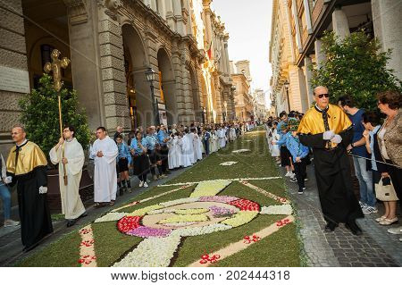 Chieti Italy - 18 June 2017: Priests and scouts in the religious procession of Corpus Domini in Chieti