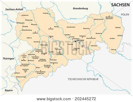 Map of the state Saxony with the most important cities in german language