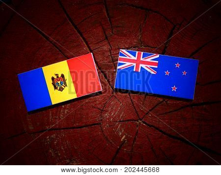 Moldovan Flag With New Zealand Flag On A Tree Stump Isolated