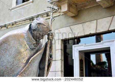 VERONA ITALY - MAY 2017: Monument to John Paul II Pope of Rome in Verona Italy