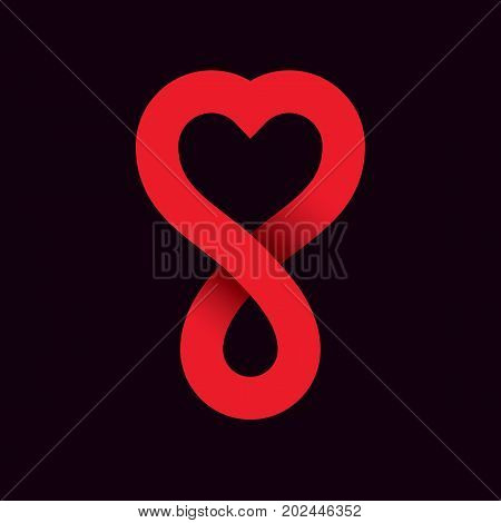 Red heart shape vector illustration composed with blood drops and symbol of infinity. Medical theme vector graphic symbol. Save life conceptual graphic emblem.