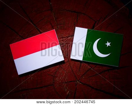 Indonesian Flag With Pakistan Flag On A Tree Stump Isolated