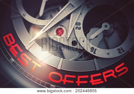 Best Offers on Face of Luxury Wrist Watch, Chronograph Close-Up. Best Offers on Men Wrist Watch Detail, Chronograph Close Up. Time and Work Concept with Lens Flare. 3D Rendering.