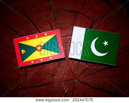 Grenada Flag With Pakistan Flag On A Tree Stump Isolated
