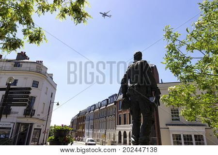 Windsor United Kingdom - 26 May 2017: The Irish Guardsman Statue on the streets of Windsor to honour the Irish Guards