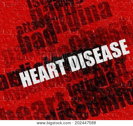 Modern healthcare concept: Red Wall with Heart Disease on the it . Heart Disease - on Wall with Wordcloud Around .