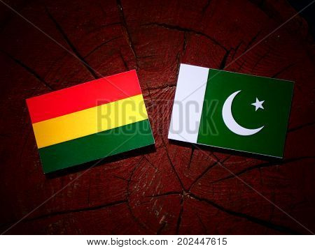Bolivian Flag With Pakistan Flag On A Tree Stump Isolated