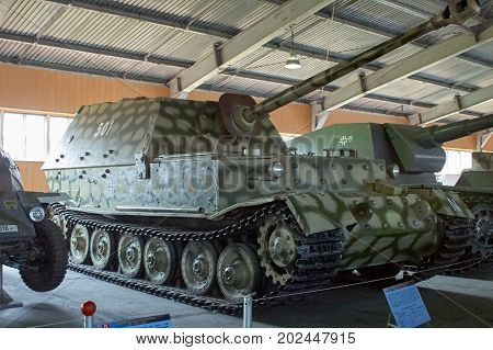 MOSCOW REGION RUSSIA - JULY 30 2006: Ferdinand German heavy tank destroyer of World War II the Tank Museum Kubinka near Moscow