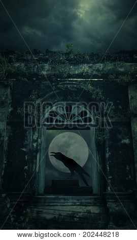 Crow sitting on the rock and croaks with spooky ancient castle window over full moon with cloudy sky Halloween concept