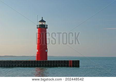 Kenosha Pier Lighthouse - A lighthouse along Lake Michigan.