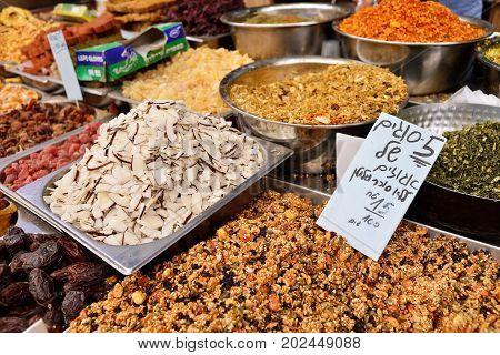 JERUSALEM ISRAEL - APRIL 2017: Eastern market with traditional sweets in Israely Market Mahane Yehuda Jerusalem