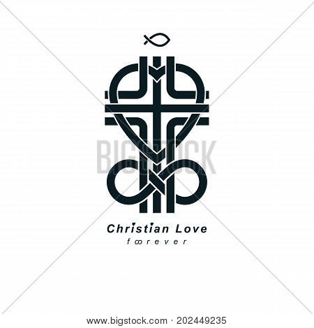 Immortal God Christian Love conceptual logo design combined with infinity loop sign and Christian Cross and heart vector creative symbol.