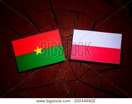 Burkina Faso Flag With Polish Flag On A Tree Stump Isolated
