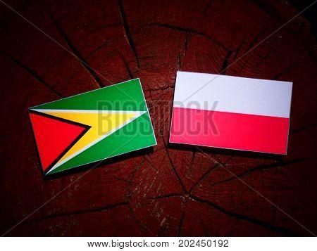 Guyana Flag With Polish Flag On A Tree Stump Isolated