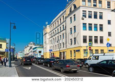 Moscow, Russia - August 31.2017. Sretenka Street, Crossroads with a Prosvirin Lane