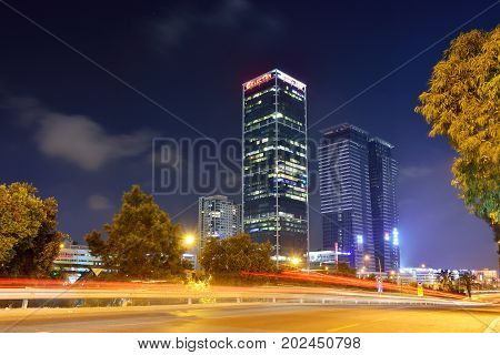TEL AVIV ISRAEL- APRIL 2017: Night view of modern part of the city of tel Aviv Israel.