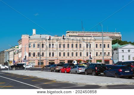 Moscow, Russia - August 31.2017. Sretenka Street, Crossroads with a Bolshaya Sukharevskaya square